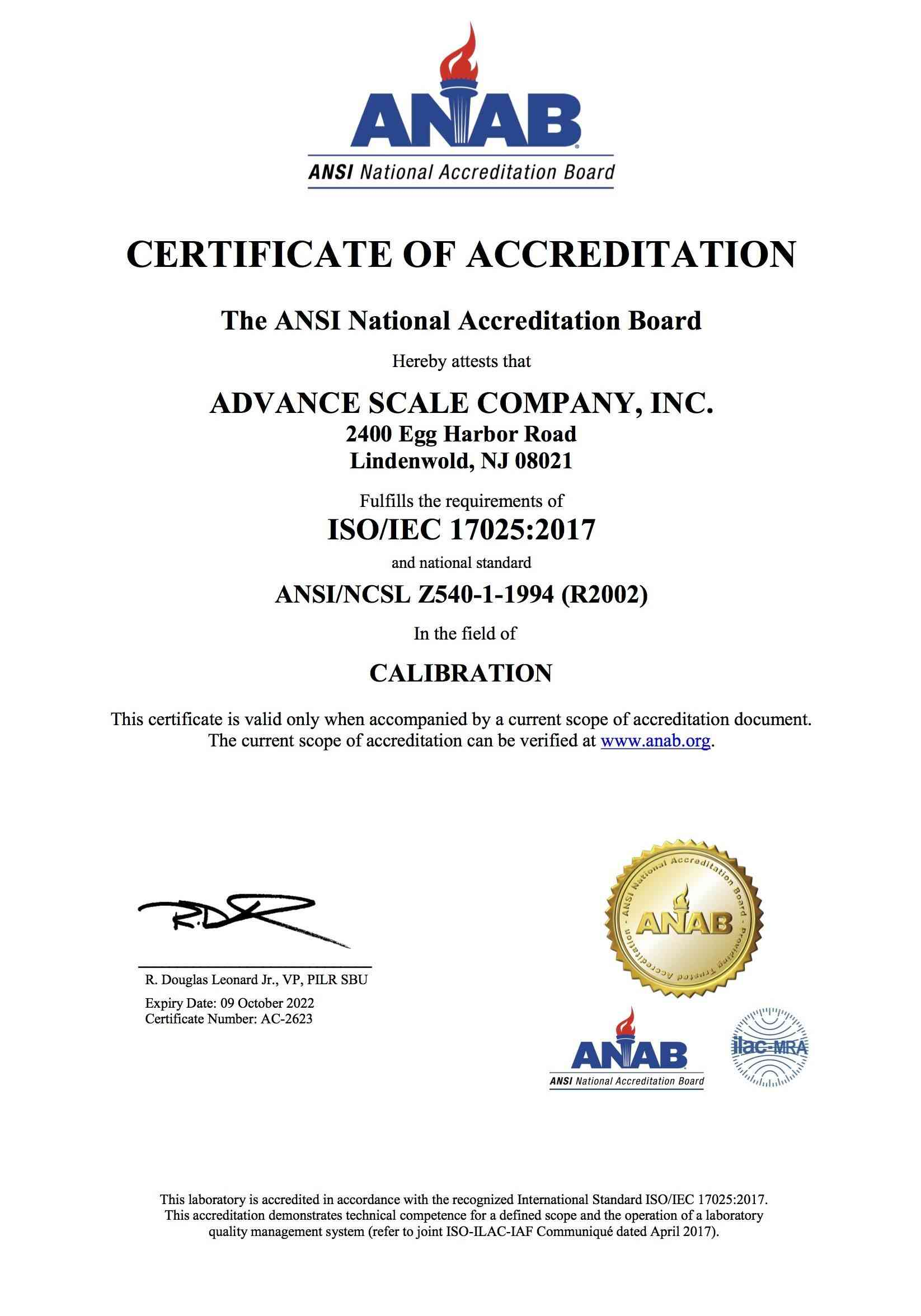 ISO/IEC 17025:2017 and national standard ANSI/NCSL Z540-1-1994 (R2002)